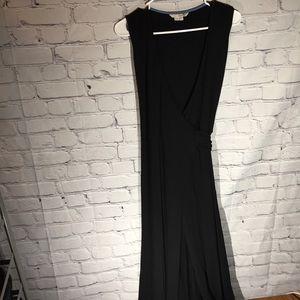 Boden black knit true wrap maxi dress. Sz 6